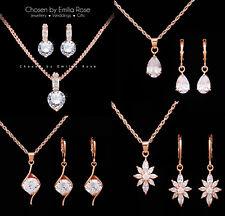 18k Rose Gold Bridal Bridesmaid Necklace Earrings Jewellery Set Wedding Jewelry