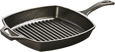 """Grill Pan 10.5"""" Pre-Seasoned Cast Iron Square Skillet Ribbed Cooking"""