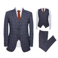 Men Blue Tweed Plaid Suit Vintage Tuxedo Party Dinner Formal Wedding Suit Custom