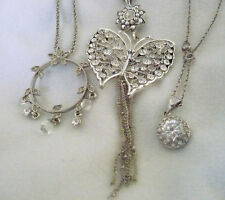 Lot of 3 rhinestone necklaces butterfly w/ dangles, solitaire & circle w/dangles