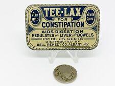 1915 Vintage Tee-Lax Tablets Liver Bowels Medicine Tin Advertising Drug Pharmacy