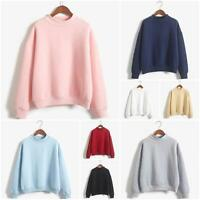 Korean Women Pink Sweater Pullover Raglan Tee Jumper Sweatshirt Long Sleeve Top