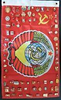 Set of 77 Soviet USSR pin badges 'Lenin & The Communist party' + USSR flag