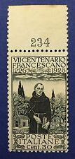 REGNO D'ITALIA 1926 N. 198 BDF NUMERO TAVOLA 234 NUOVO GOMMA INTEGRA RR