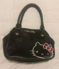 HELLO KITTY VINTAGE 2012 Sanrio Tote HandBag Purse Black Leather, Embroidered