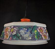 Jolie lampe suspension vintage en verre opaline décors bandeau floral