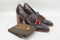 TOD'S Ladies Brown Patent Leather Block Heel Tassel Slip On Shoes UK6 EU39