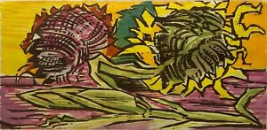 Werner Drewes Signed Limited Ed. Woodblock-Sunflowers/Still Life-Thanksgiving
