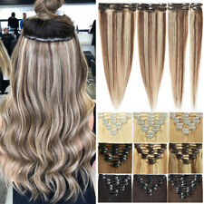 CLEARANCE Clip In 100% Real Remy Human Hair Extensions Full Head Highlight 8-24""