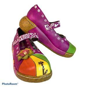 Socofy Multi-Color Floral Adjustable Mary Jane Platform Shoes Women's 40 / 9