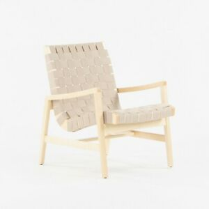 2021 Jens Risom for Knoll Lounge Chair with Arms in Maple Frame & Flax Webbing