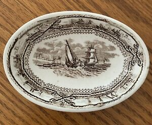 Pearlware Childs Miniature Platter Staffordshire c1800s Cream and Brown Nautical