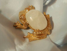 Dainty Vintage 60's Xx Cool Repousse Moonglow Frog Toad Brooch Super Fun 155J8