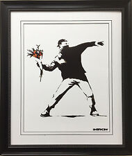 "BANKSY ""Molotov"" New CUSTOM FRAMED Art Print Graffiti Street political Activist"