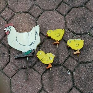 Vintage lawn decoration wood chicken and chicks  shabby chic