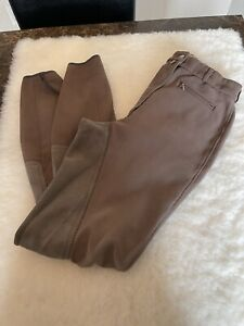 Pikeur Women's Stretch Full Saddle Breeches Horse Riding Pants Brown Size 26 US