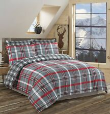 Red Check Reversible Duvet Cover Bedding Set 100% Cotton Double Super King Size