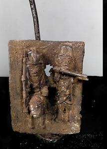Old Tribal Bronze Benin King and Trumpet Blower Figure     --- Nigeria  BN 66