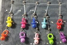 Pearlized Baby Pacifier Pregnancy Maternity Belly Button Ring Navel Dangle