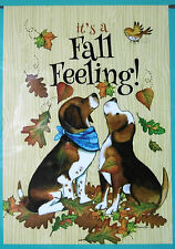 """Large """"It's a Fall Feeling"""" Dogs Puppies Porch Art flag (28"""" x 40"""")"""