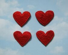4 Red Embroidered Medium Heart Applique - EB1