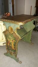 Antique Victorian Side Table w/ Magazine Rack Painted Mahogany  Italian carvings