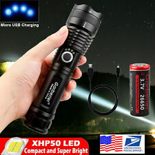 Super Bright 900000Lumens XHP50 Zoom Flashlight LED USB Rechargeable Torch 26650