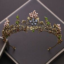 Vintage Gothic Black Rhinestone Pearls Wedding Hair Accessories Tiaras Crown