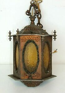 Antique Arts & Crafts Hanging Porch Pendant Light Copper/Bronze Metal Slag Glass
