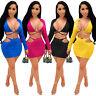 Women Sexy Bandage Bodycon Mini Long Sleeve Two Piece Skirt Set Party Club Dress