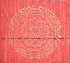 Indian red golden ombre mandala tapestry wall hanging bohemian hippie bedspreads