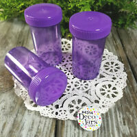 6 Empty Purple Pill Bottles Screw Caps JARS Candy #4314 Container 2 ounce USA