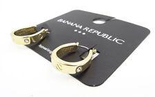 New Banana Republic Gold Tone Horseshoe Shaped Earrings with Rhinestones  #BRE60
