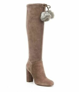 MICHAEL KORS Lady's Knee High Leather Fawn Remi Taupe Boots - 8M (38.5)