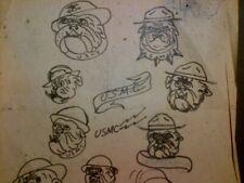 SAILOR JERRY COLLINS - ORIGINAL VINTAGE 2-sided 1950s TATTOO USMC SKETCH