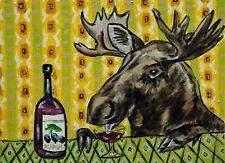 moose at the wine bar  modern art print 11x17 glossy