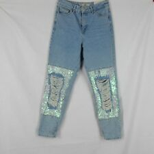 Topshop MOTO MOM Jeans W26 Womens High Waisted Tapered Leg Sequin Destroyed