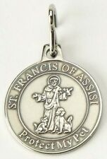 St. Saint Francis of Assisi Protect My Pet Medal Dog Cat No Chain Nickel Finish