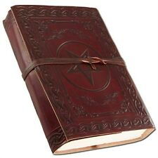 Pentagram Embossed Leather Journal Diary (Handmade)/leather strap -FREE GIFT MSG