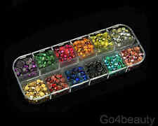 12 Colours Total 2880pcs Hot Fix Metal Studs (4mm)