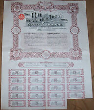 UK GB 1911 The Oil Royalties Trust Limited 10 shares £10 coupon Deco Uncancelled