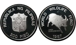 200 Piso 2006 Philippines 🇵🇭Silver Proof Coin / WWF Buffalo # 248