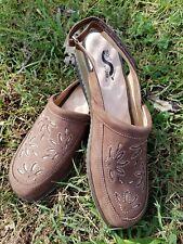 Womens Soft Walk Brown Leather Slide Shoes Size 7.5