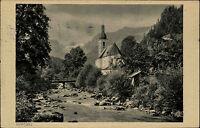 Ramsau bei Berchtesgaden s/w AK 1929 Flußpartie mit Ache Blick auf eine Kirche