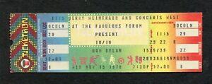 1978 Bob Dylan Unused Concert Ticket Los Angeles Forum Street Legal Tour