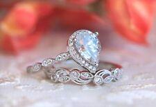 14K White Gold Pear Shape Diamond Engagement Wedding Women's Bridal Ring Set