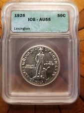 1925 Lexington Commemorative Half Dollar Graded AU55 by ICG Lovely Original Coin