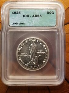 1925 Lexington Commemorative Half Dollar Graded AU55 by ICG Lovely Original Coin