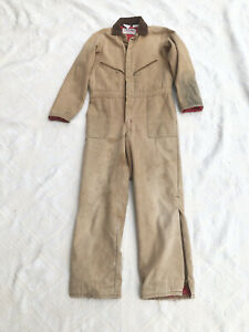 Vintage Walls Tan Duck Canvas Insulated Coveralls Small