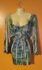 Women's Plus Size 2XL Green Blue Burnout Abstract Shirt Top Layer Hippie Gypsy